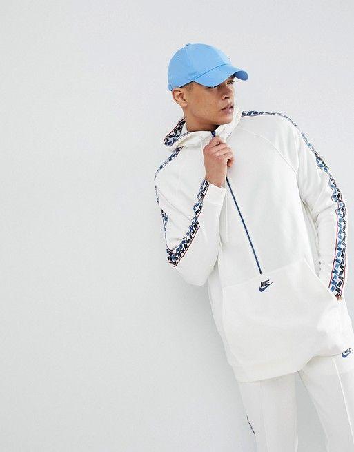 07eaa14bd Nike | Nike Half Zip Hoodie With Taped Side Stripe In White AJ2296-133