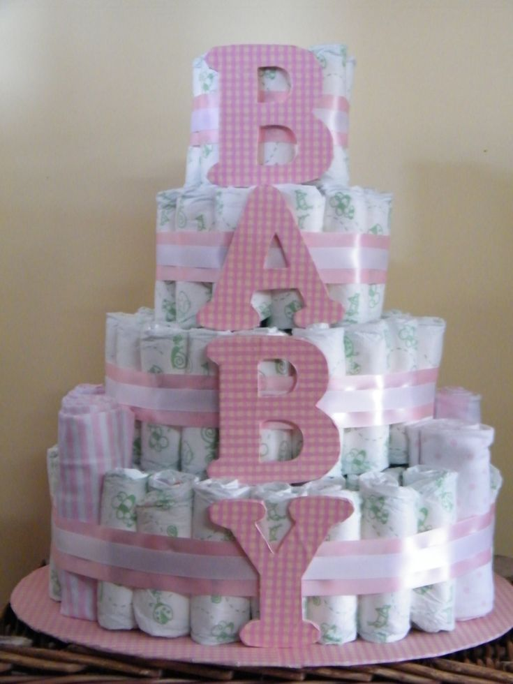 diaper cake - like this to spell boy
