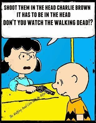 Zombob's Zombie News and Reviews: Good grief!! shoot them in the head charlie brown, it has to be in the head, don't you watch the walking dead