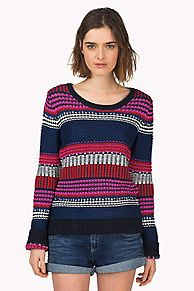 Eye-catching jumper knitted in block stripes in a variety of slip stitch patterns and colors for a truly unique statement piece. Straight fit. Wider, ribbed crew neck, cuffs and hemline. Hilfiger Denim flag on the sleeve.<br/><br/>Our model is 1.76m and is wearing a size S Hilfiger Denim jumper.