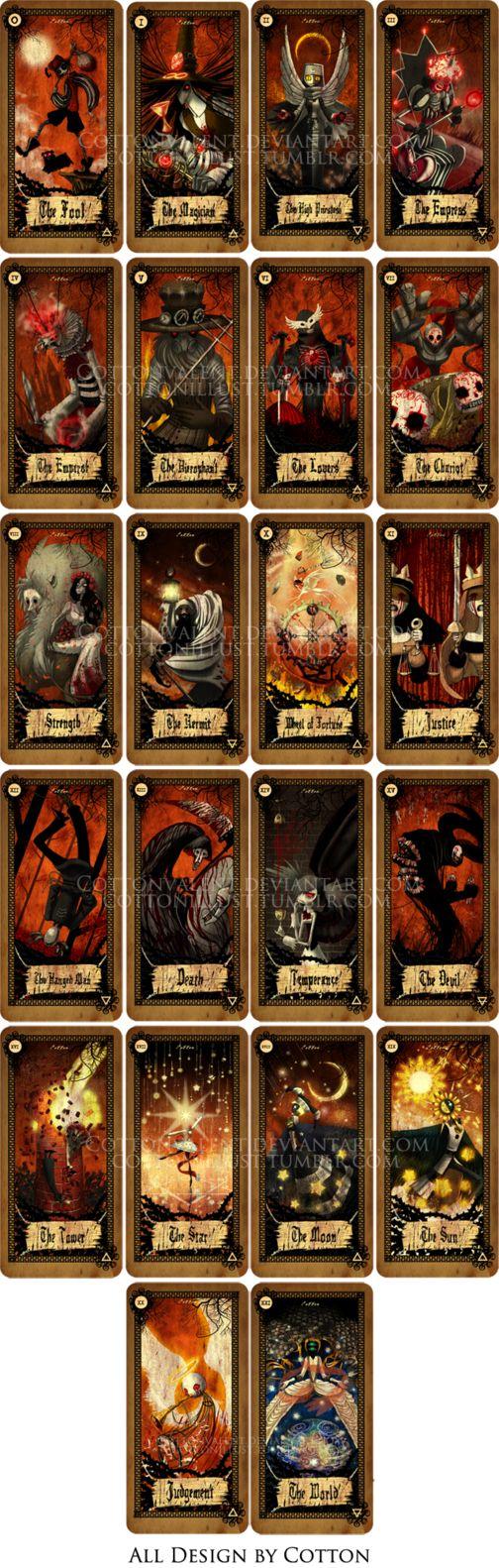 Beautiful taro cards by CottonValent on DA. Major Arcana, for sale 40.00 a set.