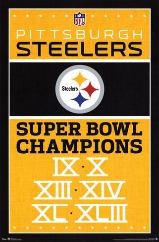 """NFL Pittsburgh Steelers Super Bowl IX, X, XIII, XIV, XL, XLIII Champions poster art wall print 22"""" x 34"""""""