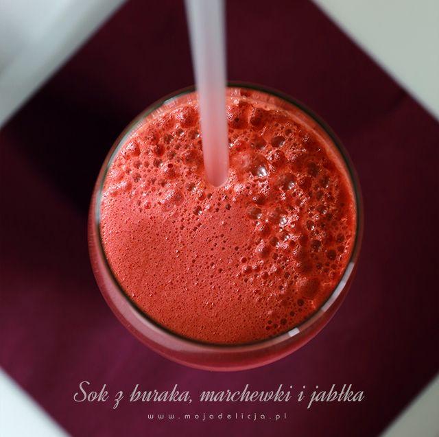 Oczyszczający i usuwający zmęczenie sok z buraka, marchewki i jabłka