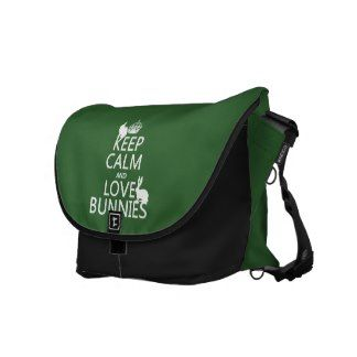 Keep Calm and Love Bunnies - all colors Messenger Bags