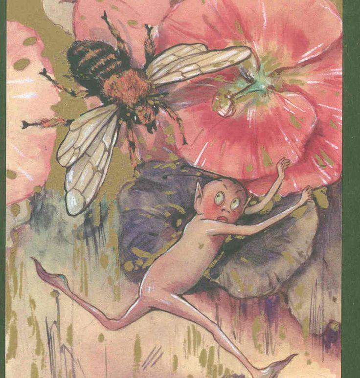 SCHMUCKER... GNOME,FLEES BEE ,LIMITED EDITION FANTASY POSTCARD FROM ORIGINAL ART | eBay