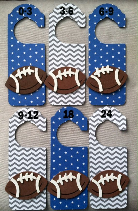 Football nursery closet dividers.