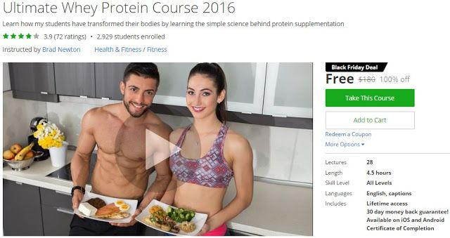 [Udemy #BlackFriday] Ultimate Whey #Protein Course 2016   About This Course  Published 5/2016EnglishClosed captions available  Course Description  Updated NOVEMBER 18th2016TAKEADVANTAGEOFTHEBLACKFRIDAYSALES   Ultimate Whey Protein Course 2016. This course is the MOSTPOPULAR and COMPREHENSIVE protein course available online! With over 2900 students from 124 countries! Will you be next?  ==========  Thousands of studentsenrolled writing in scores of 5 star reviews:  Great solid informationin a…