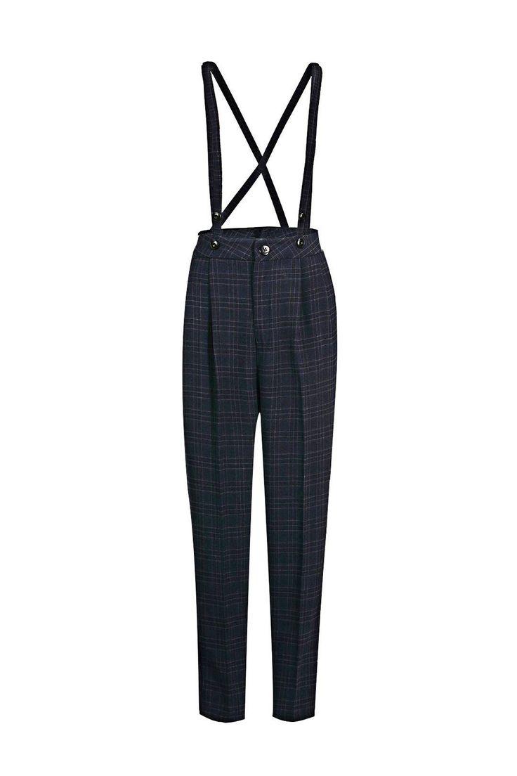 Suspender Pants in Check - US$30.95 -YOINS