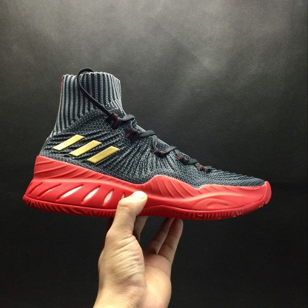 best sneakers d4a76 63fa7 adidas Crazy Explosive 2017 Primeknit BlackGold Red New Release For Sale