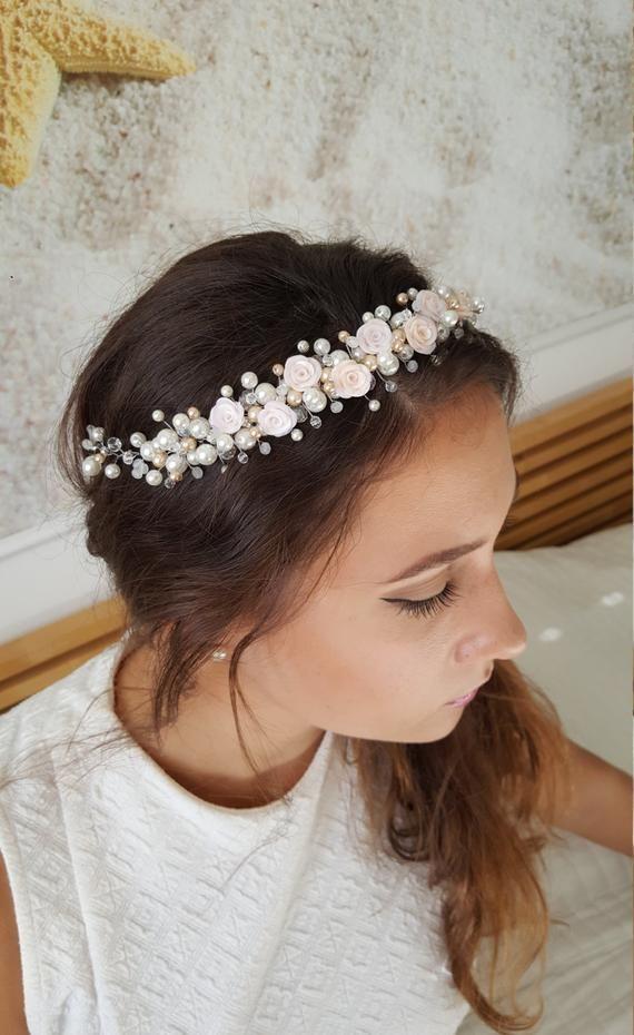 Ivory headband flower girl headbands Wedding hair accessories bridesmaid headpiece handmade fabric flower prom accessory bridal hairpi