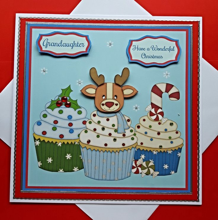 Christmas Card for Grandaughter with large cupcakes and 3D reindeer