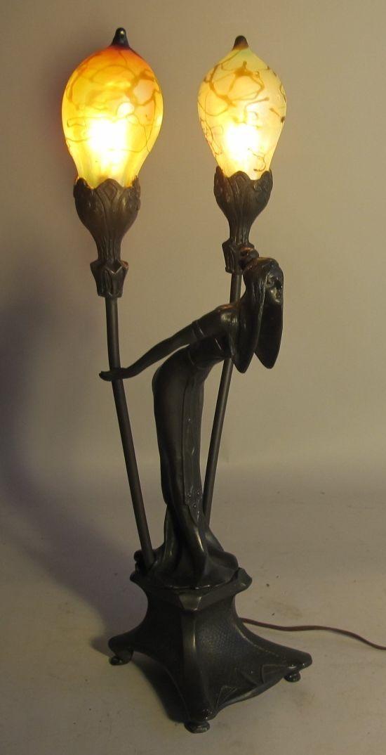 French Art Nouveau Bronze Sculpture Lamp W Loetz Shades by Irene Rochard
