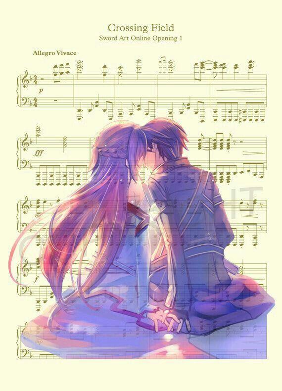 Asuna, Kirito, couple, text, Crossing Field, opening 1 song, sheet music, piano; Sword Art Online