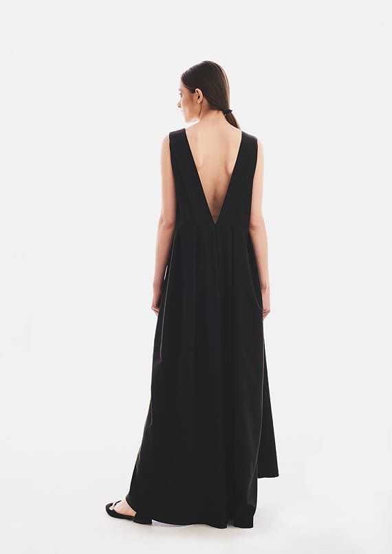 Plus Size Maxi Dress, Black Dress, Summer Dress, Open Back Dress, Formal Dress, Ball Dress, Low Back Dress, Vampire Dress, Gothic Clothing