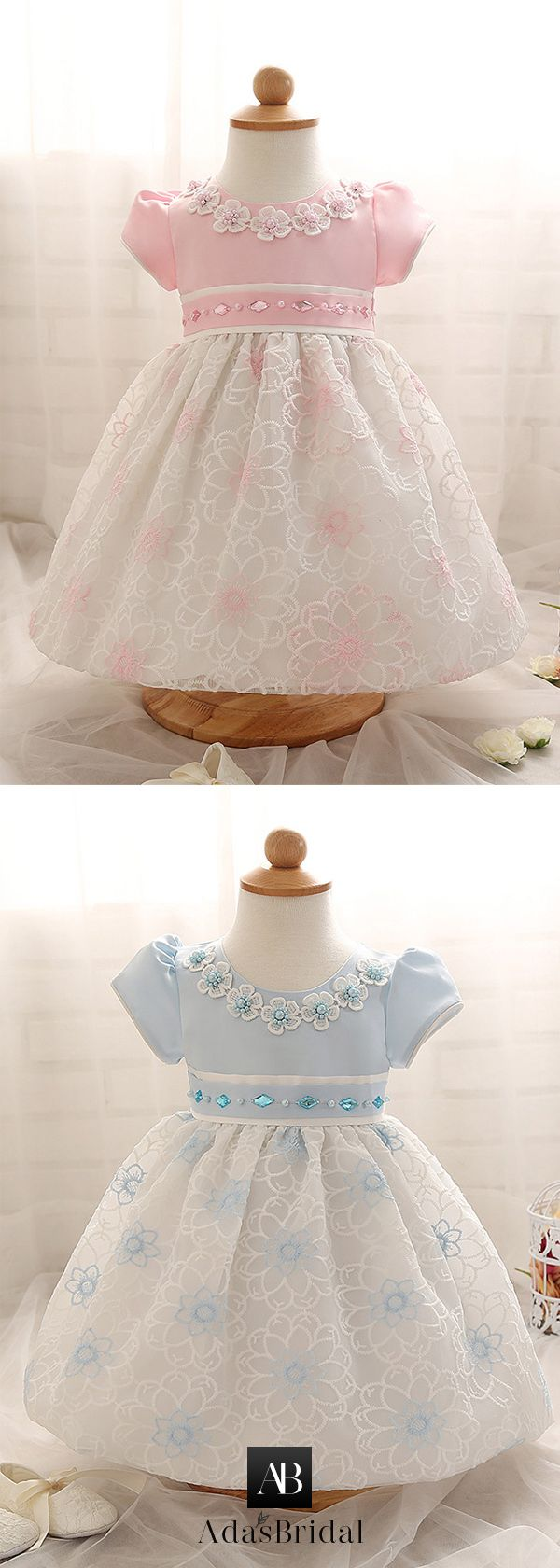 Amazing Satin & Lace Jewel Neckline Ball Gown Flower Girl Dresses With Rhinestones