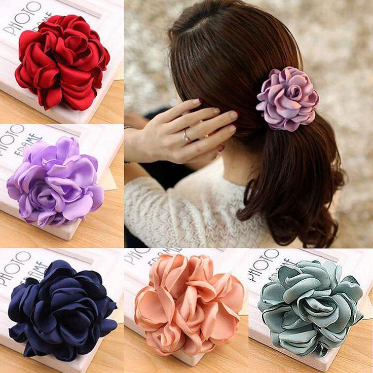 2017 Big Rose Flower Elastis Rambut Pemegang Karet gelang Gadis Wanita Kawaii Lucu Tie Gum Kain Hot Sale Headwear Aksesoris