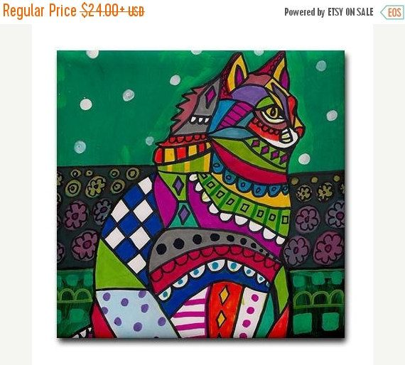 50% Off - White Cat Folk art Tile Ceramic Coaster Mexican Folk Art Print of painting by Heather Galler