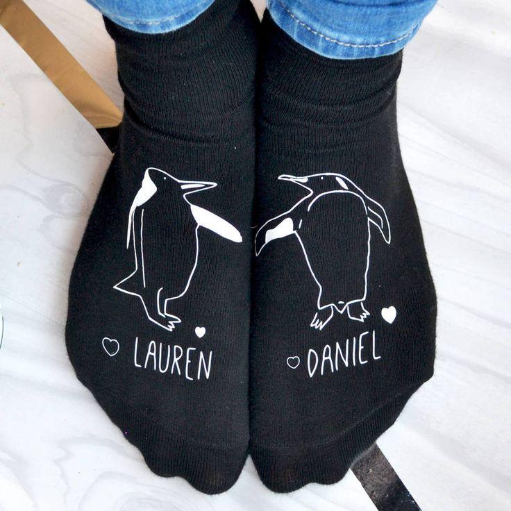 Personalised Valentines Penguin Socks