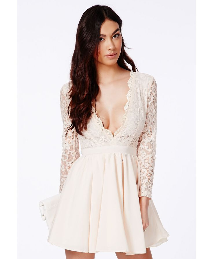 Missguided Dayana Nude Lace Sleeve Puff Ball Dress in White (nude) | Lyst