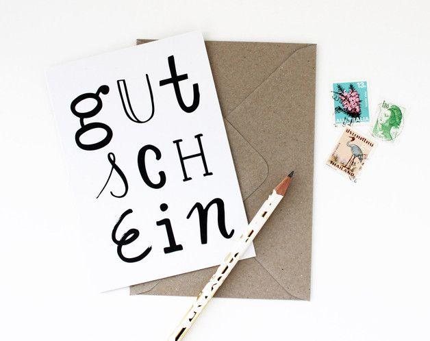 """Klappkarte """"Gutschein"""" - ein Designerstück von mimifaktur bei DaWanda #handlettering Geschenkidee"""
