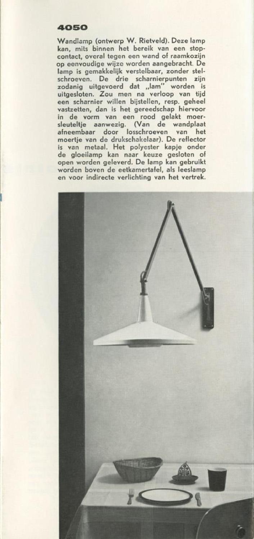 Gispen, flyer 1960  Gispen Culemborg. Flyer uit 1960 met wandlampen, bureaulampen, staande lampen en electrische windwijzers