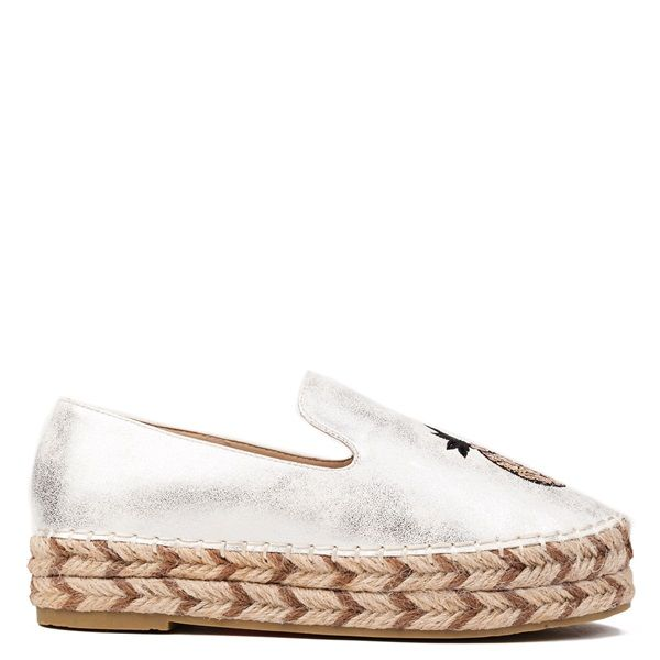 Silver metallic espadrille with decorative pineapple with sequins. Features rope sole.