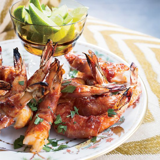Prosciutto-Wrapped Shrimp with Bourbon Barbecue Sauce | Food & Wine Recipe