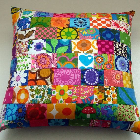 I would love it, if I could find someone to make me a patchwork pillow or quilt! -asb      BIG Patchwork Vintage Retro Fabric Pillow / by madebylisajane, £48.00