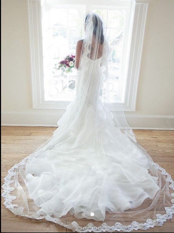 Long Lace Veil by BlancaVeils on Etsy