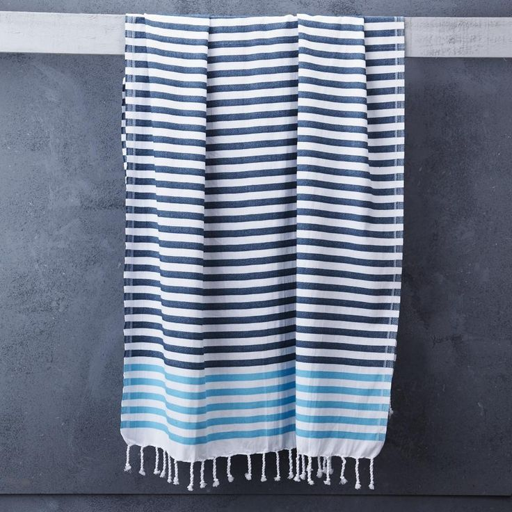 Sheker Towel Candy Stripes in Petrol and Turquoise