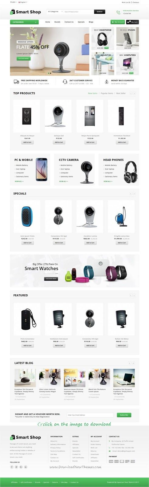 Top 10 Best New Premium eCommerce Themes: Smart #Shop is clean and modern design responsive #OpenCart theme for stunning electronics, digital or any multipurpose eCommerce store website. It has 3 different homepage layouts, product tab with slider, product image thumb swap, blog module, SEO optimized, cloud zoom, related product scroller and much more features