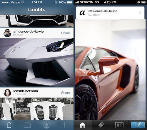 Tumblr iOS7 Redesign http://dribbble.com/shots/1141054-Tumblr-for-iOS7