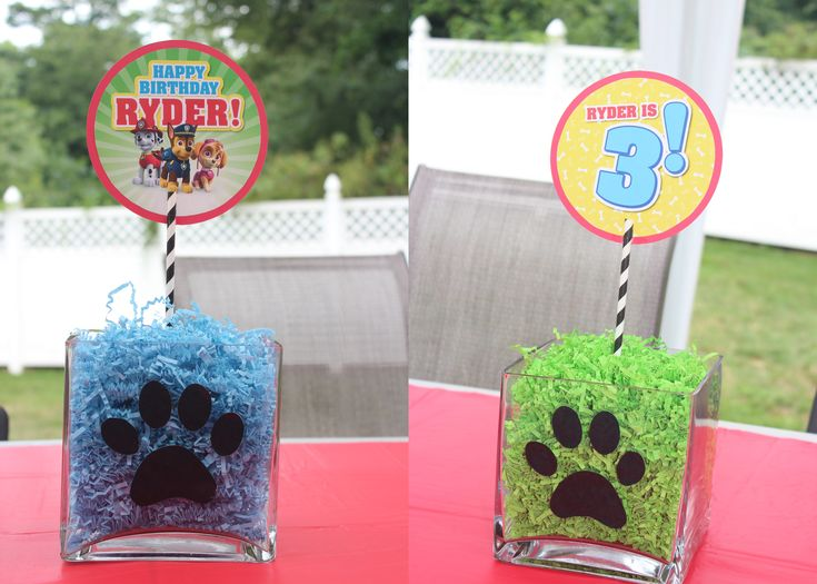 Ryder's 3rd Birthday, Paw Patrol Theme    *Table Centerpieces made from re-used glass vases, cutout paw prints, paperstraws and the signs are by Paperkat Design