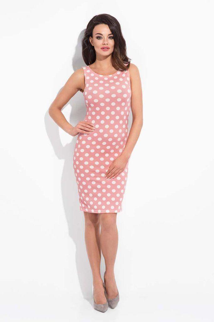 Pink Polka Dot Pattern Bodycon Dress