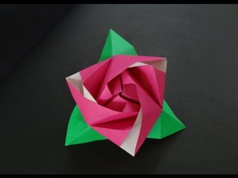 Origami Flower Tutorial - How to fold Origami Rose Cube - YouTube