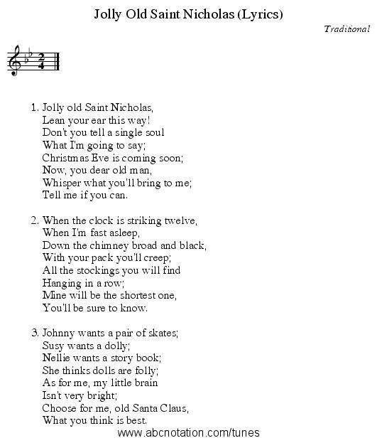 jolly old st. nicholas full lyrics
