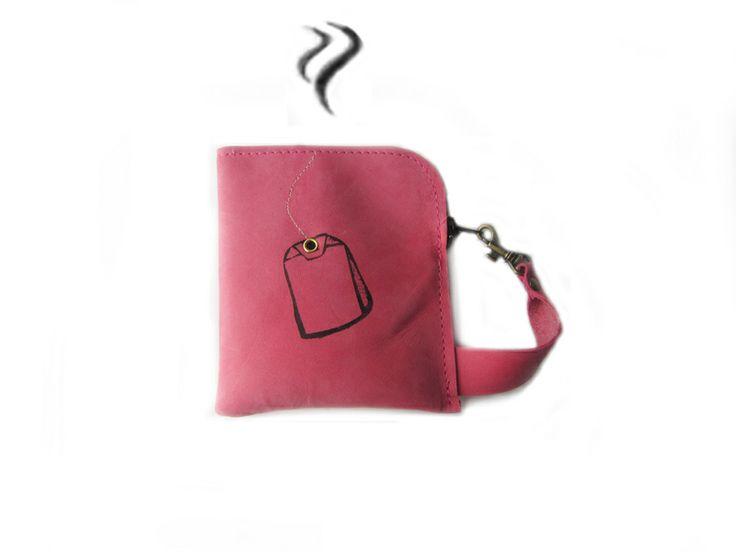 roze leer portemonnee zeefdruk thee van Squirrellicious op DaWanda.com