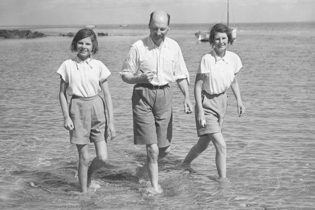 Clement Attlee on holiday at Nefyn, North Wales, with his daughters Janet and Felicity