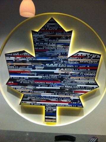Latest addition to the Toronto Maple Leafs lockeroom. Leafs logo made out of sticks. So cool.