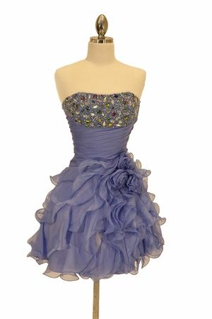 Short Perry Blue Formal Dress Colorful Jewels Organza Ruffle Skirt $177.99