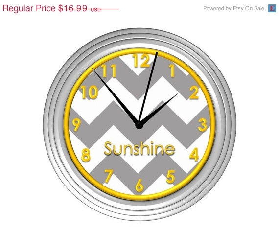 FATHERS DAY SALE Grey Chevron Wall Clock with Yellow Detail - Personalized
