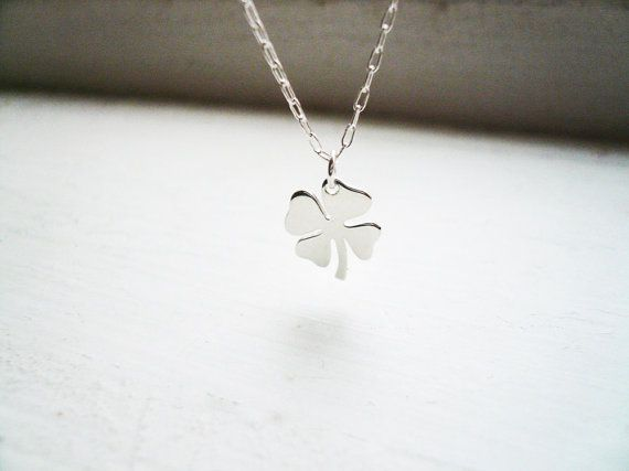 Tiny Four Leaf Clover Necklace in Sterling Silver - Sweet and Simple Shamrock for Good Luck on Etsy, $24.00