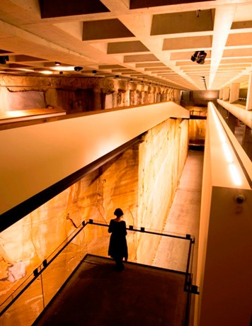 Museum of Old and New Art, Tasmania #MONA is built into the ground hence the solid sandstone wall.