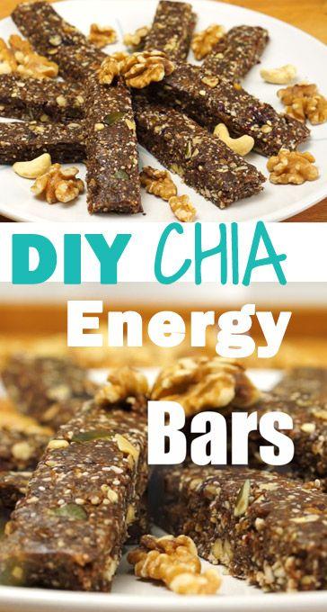 Gesunde Chia Müsliriegel / Energy Bars zum Selbermachen als Snack - hier gibt es das Rezept mit Anleitung!