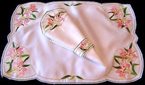 Set of 4 Table Place Settings (4 Placemats/4 Napkins) in a Mackintosh Lily Nouveau (White&Pink) Design by Celtic Glass Designs. $17.00. Beverley Gallagher of Celtic Glass Designs specialises in hand painted Celtic, Contemporary and Mackintosh-styled glassware and matching table linen. Ideal for your dining table at Christmas, Mother's Day, Easter and also for dressing tables at weddings, anniversaries, engagement parties, hand fastings, civil partnership ceremonies, birt...