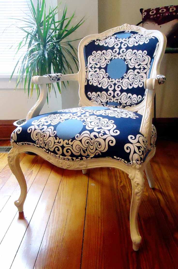 Louis xvii chair - Vintage French Louis Xv Chair Upcycled White Navy Blue Mod Green Pod Anticipate Fabric In Blueberry