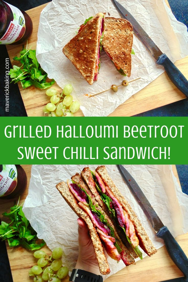 Grilled Halloumi Beetroot Sweet Chilli Sandwich; crispy Halloumi cheese is the star of this epic toasted sandwich. Who says veggie has to be boring?