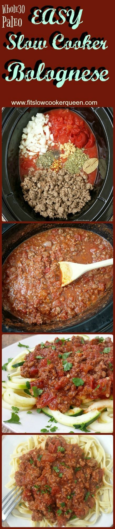 Slow Cooker / Crockpot Whole30 & Paleo - Bolognese is a great recipe for the slow cooker. This healthy meat-based sauce slow cooks for hours producing a whole 30 and paleo versatile sauce