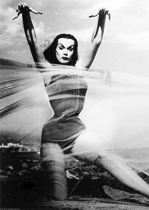 Vampira at the beach c. 1954