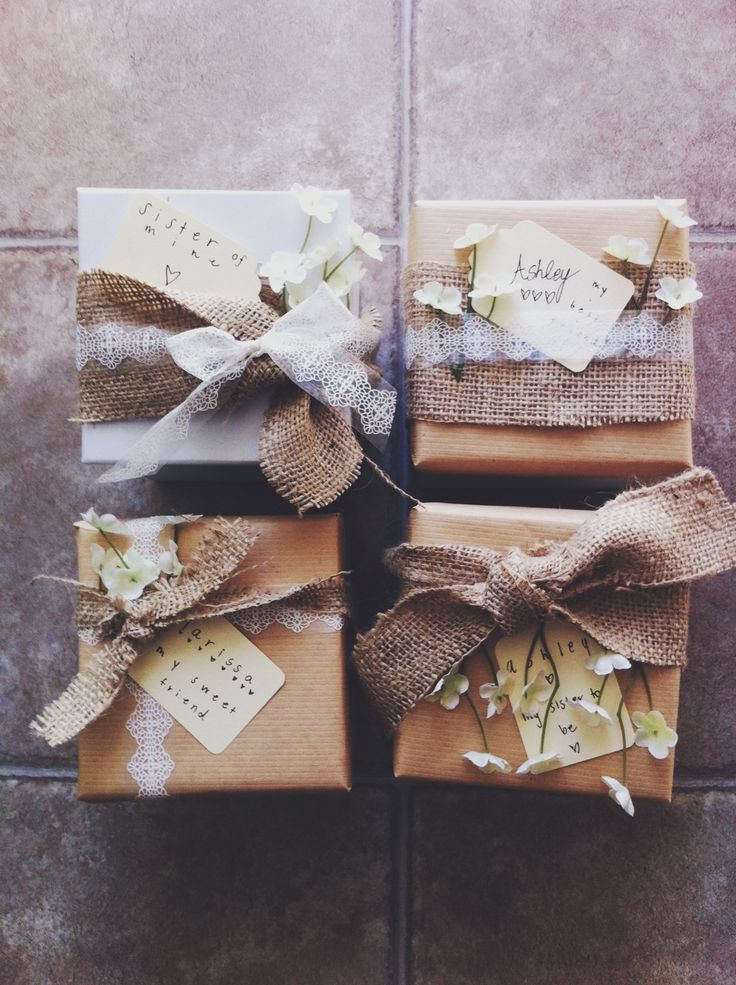 Bridesmaids Gifts - wrapped with burlap/lace